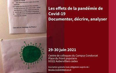 Rencontre scientifique – Les effets de la pandémie de Covid-19. Documenter, décrire, analyser (29-30 juin 2021)